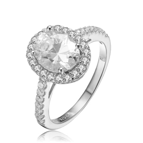 Collette Z Sterling Silver with Rhodium Plated Clear Oval with Round Cubic Zirconia Halo Pave Engagement Ring
