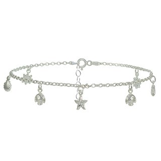 Mondevio Sterling Silver Rolo Chain and Dangling Beach Charm Anklet