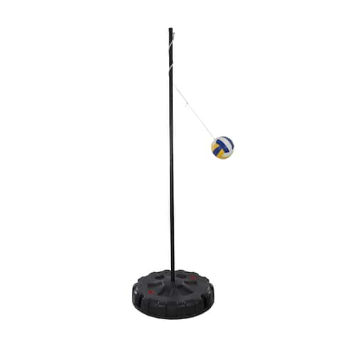 """Hey! Play! Portable Tetherball Complete Outdoor Game Set - Black - 103"""" Tall"""