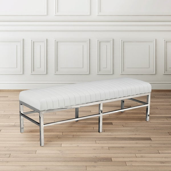 White Faux Leather Upholstered Metal Bench