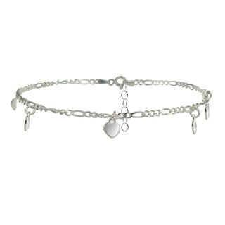 Link to Mondevio Sterling Silver Figaro Chain Anklet with Dangling Heart Charms Similar Items in Bracelets