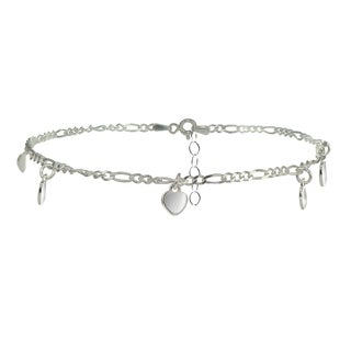 Mondevio Sterling Silver Figaro Chain Anklet with Dangling Heart Charms (3 options available)