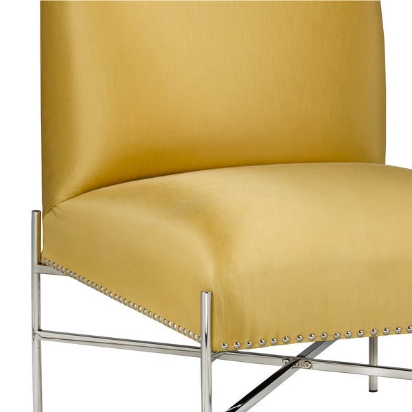 Incredible Shop Polished Steel Yellow Upholstered Nailhead Armless Squirreltailoven Fun Painted Chair Ideas Images Squirreltailovenorg
