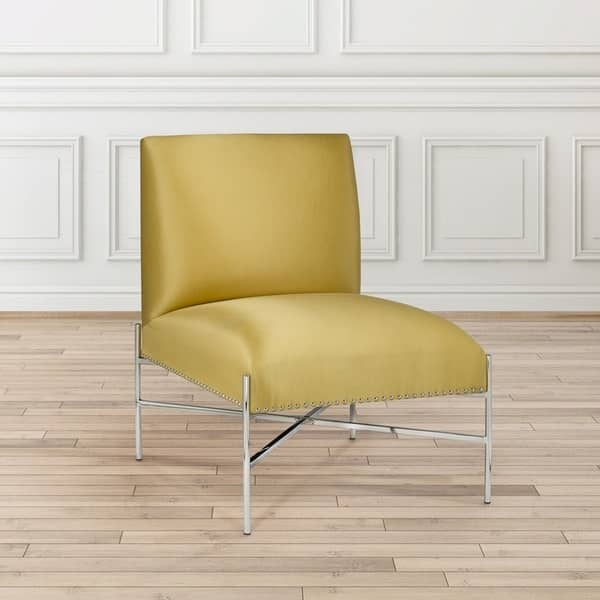 Magnificent Shop Polished Steel Yellow Upholstered Nailhead Armless Squirreltailoven Fun Painted Chair Ideas Images Squirreltailovenorg