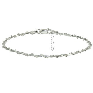 Mondevio Sterling Silver Box and Beaded Twisted Chain Anklet