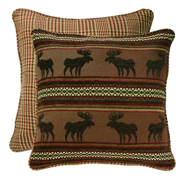HiEnd Accents Reversible Moose & Houndstooth Euro Sham
