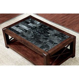 Furniture of America Calrison Transitional Genuine Marble Top Brown Cherry Coffee Table