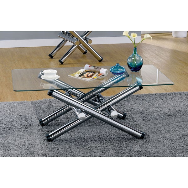 Superieur Furniture Of America Ziggie Modern Intersecting Glass Top Chrome Coffee  Table
