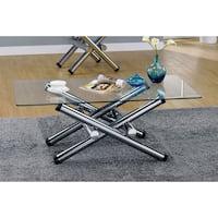 Furniture of America Ziggie Modern Intersecting Glass Top Chrome Coffee Table