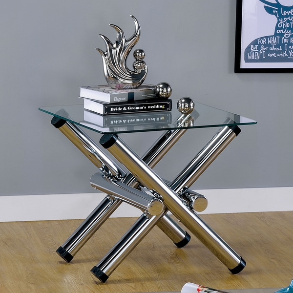 Furniture of America Ziggie Modern Intersecting Glass Top Chrome End Table