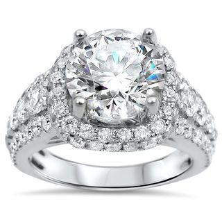 Noori 18k White Gold 4 1/2 Moissanite Round Diamond Halo Engagement Ring
