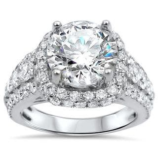 Noori 18k White Gold 4 1/2 Moissanite Round Diamond Halo Engagement Ring|https://ak1.ostkcdn.com/images/products/15950275/P22349636.jpg?impolicy=medium