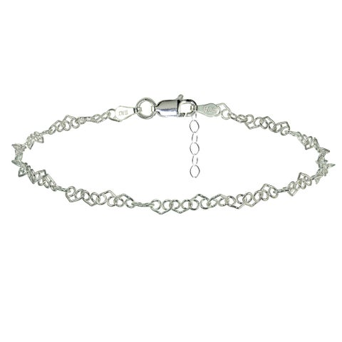 Mondevio Sterling Silver Fancy Heart Link Chain Anklet