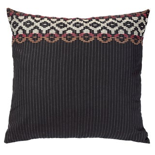 HiEnd Accents Embroidered Pinstripe Euro Sham Reversed To Red