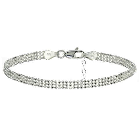 Mondevio Sterling Silver Mesh Design Anklet