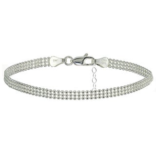 Mondevio Sterling Silver Mesh Design Anklet (3 options available)
