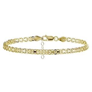 Mondevio Sterling Silver Bismark Design Anklet (Option: Gold Overlay - Yellow)
