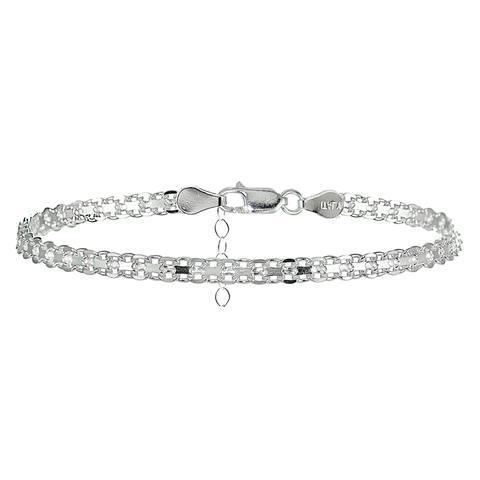 Mondevio Sterling Silver Bismark Design Anklet