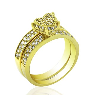 .925 Sterling Silver Gold Plated Heart Shape Pave Two Piece Bridal Set RIng