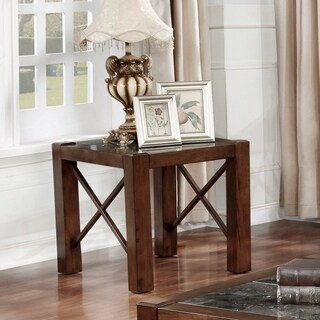 Furniture of America Calrison Transitional Genuine Marble Top Brown Cherry End Table