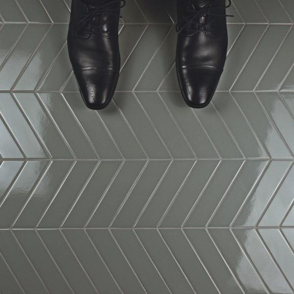 SomerTile 1.75x7-inch Victorian Soho Chevron Glossy Light Grey Porcelain  Floor and Wall Tile