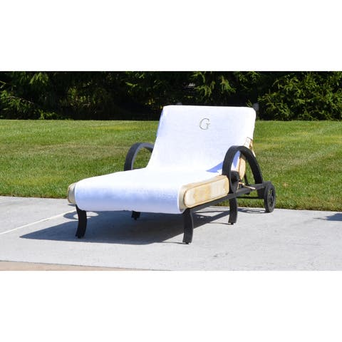Authentic Turkish Cotton Silver Monogrammed Towel Cover for Standard Size Chaise Lounge Chair