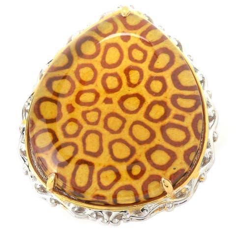 Gems en Vogue Palladium Silver Baltic Amber Leopard Print Intaglio Ring