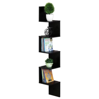 Furinno Espresso 5-tier Wall-mount Floating Corner Square Shelf