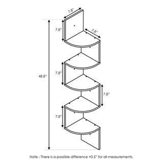 Furinno Espresso 5-tier Wall-mount Floating Radial Corner Shelf