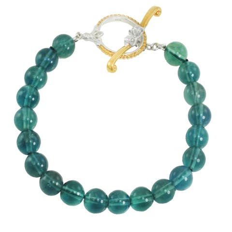 Michael Valitutti Palladium Silver Flourite Bead Toggle Bracelet