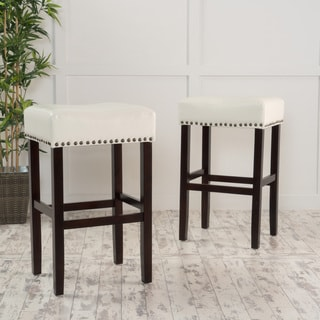 Lisette 30-inch Bonded Leather Backless Barstool with Bronze Nailheads (Set of 2) by Christopher Knight Home