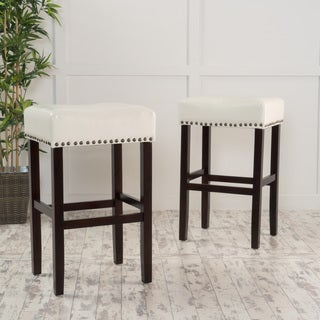 Lisette Bonded Leather Backless Barstool with Bronze Nailheads (Set of 2) by Christopher Knight Home