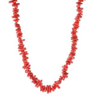 Michael Valitutti Palladium Silver Freeform Red Bamboo Coral Toggle Necklace