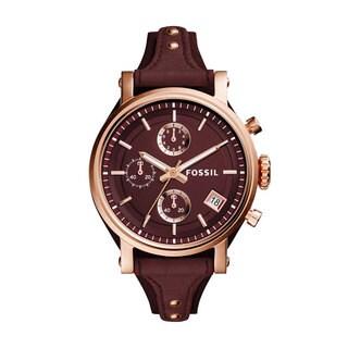 Fossil Women's ES4114 Chronograph Boyfriend Burgundy Dial Burgundy Leather Watch