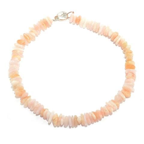 Gems en Vogue Palladium Silver Freeform Morganite Bead Toggle Necklace