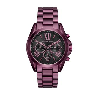 Michael Kors Women's MK3698 Bradshaw Black Dial Plum-Tone Chronograph Watch