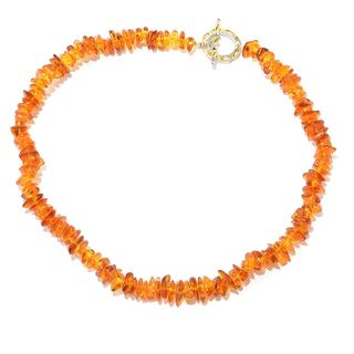 Michael Valitutti Palladium Silver Baltic Amber Freeform Bead Toggle Necklace