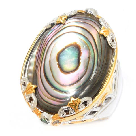 Michael Valitutti Palladium Silver Abalone Shell & Chrome Diopside Floral Ring