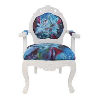 River of Goods Abstract Watercolor Wood and Linen 37.5-inch Regal Elegance Handcarved Armchair