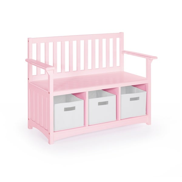Guidecraft Classic Pink Wood Storage Bench with Bins