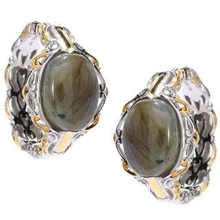 Michael Valitutti Palladium Silver Oval Labradorite Hoop Earrings w/ Clicker Backs