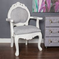 """River of Goods Grey Wood and Linen 37.5-inch Regal Elegance Handcarved Armchair - 24.5""""L x 20.5""""W x 37.5""""H"""
