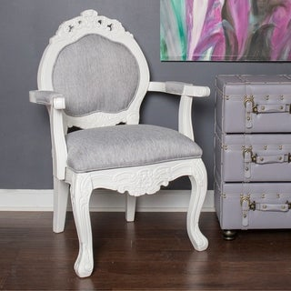 River of Goods Grey Wood and Linen 37.5-inch Regal Elegance Handcarved Armchair