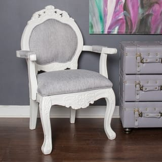 "River of Goods Grey Wood and Linen 37.5-inch Regal Elegance Handcarved Armchair - 24.5""L x 20.5""W x 37.5""H"