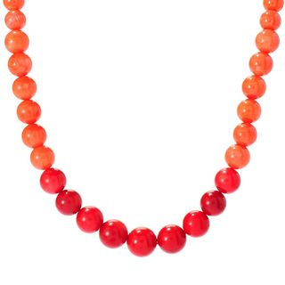 Michael Valitutti Palladium Silver Graduated Ombre Salmon Bamboo Coral Bead Toggle Necklace