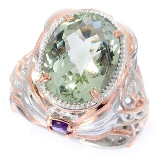 Michael Valitutti Palladium Silver Montezuma Prasiolite and Amethyst Ring