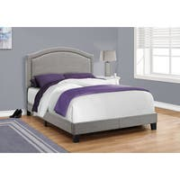 Grey Linen with Chrome Trim Full Size Bed