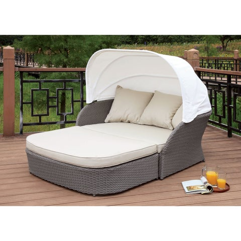 Furniture of America Viena Contemporary Aluminum Wicker Fabric Grey Patio Canopy Bed