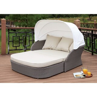 Furniture of America Viena Contemporary Aluminum Wicker Fabric Grey Patio Canopy Bed