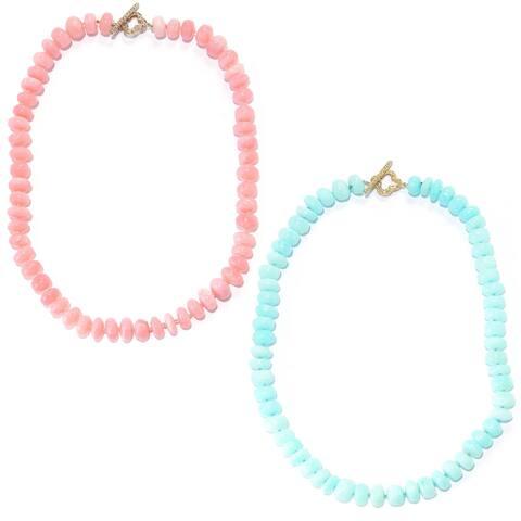 Michael Valitutti Palladium Silver Peruvian Pink/Blue Opal Beaded Toggle Necklace